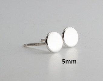 5mm Flat Disc Studs, Tiny Earrings, Modern Jewelry, Round Disc Studs, Post Earrings, Sterling silver, Stud Earrings, Minimalist Earrings