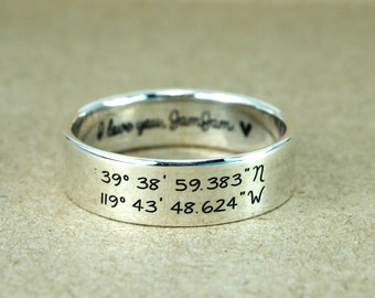 Latitude Longitude Ring, Sterling silver latitude longitude, Personalized coordinates and custom engraving, Coordinate Ring,  Engraved Ring