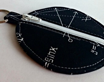 Math Nerd Earbuds Holder - Math Geek Coin Purse - Equations - Key Ring - Detachable - Small Gift - Fully Lined - OOAK - Custom Made
