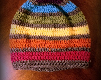 Super Slouchy Rainbow Stripe Beanie