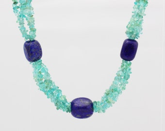 75% OFF Beaded Necklace, Lapis and Green Quartz Beaded Necklace, Gemstone Jewelry, Gemstone Necklace