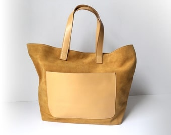 Leather tote, large leather tote, leather totebag, leather laptop bag, leatherbag, shopper, Yellow SISSA-B bag