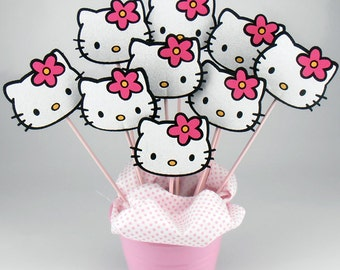 Felt Hello Kitty Birthday Centerpieces On a Stick - (6pcs)
