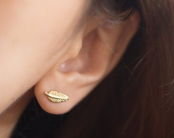 Gold Leaf Earrings, Simple Leaf Earrings, Tiny Leaf Stud, Leaf Stud Earrings, Leaf Earrings, Leaf Ear Studs, Leaf Jewelry