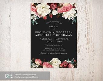 Modern Roses Dark Wedding Invitation, Roses Wedding Invite, Contemporary Wedding Invitation, Printable Wedding Invitation