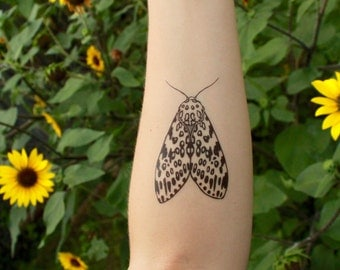 Leopard Moth, Temporary Tattoo, Black & White Moth, Symmetrical Winged Insect, Bug Tattoo