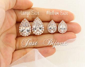 Wedding Earrings Rose Gold plated Teardrop Earrings Wedding Jewelry Bride Earrings Wedding Earring Zirconia Stud Earring Bridesmaid Gift