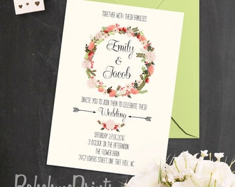 barn wedding invitation shabby chic wedding invitation rustic floral wedding invitation country wedding invitation suite wreath