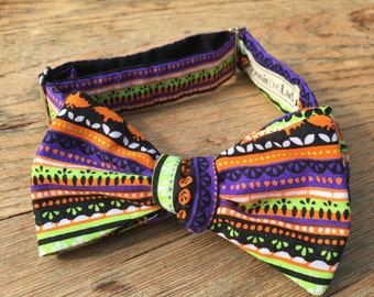 Handmade Halloween Striped Bow Tie