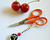 Scissor Fob - Gift for Sewer - Gift for Quilter - Purse Charm - Beaded Zipper Pull - Gift for Seamstress  - Sewing Accessory - Beaded Fob
