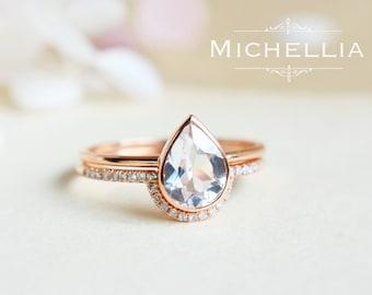 Pear Engagement Ring and Wedding Band Set, 14K 18K Gold White Topaz Ring, Alternative Diamond Wedding Set, Diamond Pear Engagement Ring