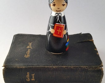 St. Elizabeth Ann Seton Peg Doll// Catholic Saint Doll/ Wooden Toy
