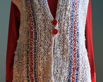 "Knitted Vest ""Red, White and Blue"" Hand Created Designer Original, Multicolored, Multi-Textured"