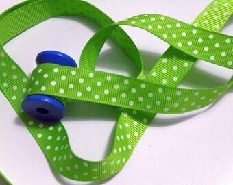 5 yd Green Printed White Polka Dots Grosgrain Ribbon #ER4