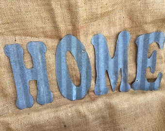 "8"" tin HOME, galvanized tin HOME, 8"" word HOME, rustic tin words"