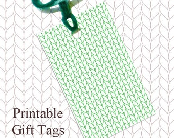 Green Line Knitted Gift Tags / Printable Knitting Gift Tags / Christmas Gift Tags / Knitter Scrapbook Tags /
