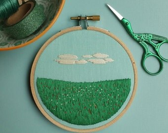 Sweet Little Meadow Hoop Art / Hand Embroidered Hoop Art, 4 inch hoop / Hand Embroidery / Landscape / Fiber Art / Home Decor