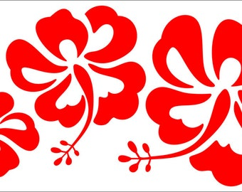 Red Hibiscus Decals