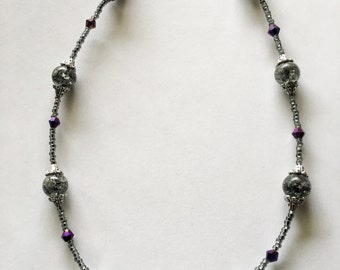 Silver, purple and black, beaded necklace