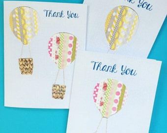 Floating Hot Air Balloons Thank You Notecards & Envelopes, Set of 12