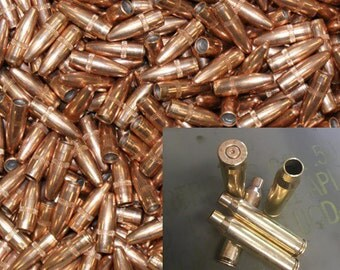 55 gr 223/5.56 FMJ Bullet and Brass Combo - Cleaned & Polished - 250 Count Available - Reloading or Craft
