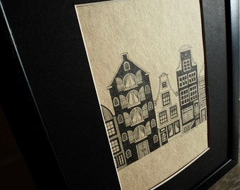 Small Drawing of Dutch Canal Houses (frame included) - an original handmade artwork, illustration, wall art, home decor, A5 format 21*14.8cm