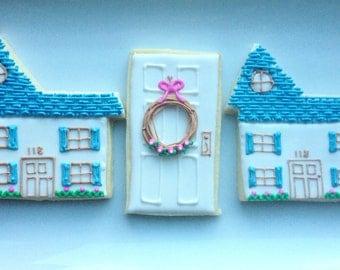 One Dozen House and Front Door Cookies - Decorated Shortbread Cookies -