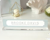 """Personalized Desk Nameplate """"Brooke"""" - Custom Name Plate Sign Decor - Office Accessories - Modern Office Supplies"""