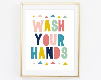 Printable - Wash Your Hands Neon Print