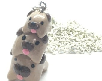 Polymer Clay Pug Stack Necklace 24 inch Chain