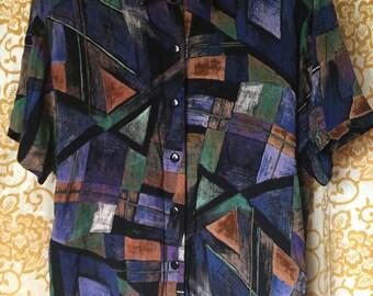 Vintage 80s Paquette Petite Byer Medium Wowan's Abstract Multi Colored Blouse