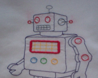 Vintage Style Toy Robot Embroidered Pillowcase, Robot Pillowcase, Standard Size Pillowcase