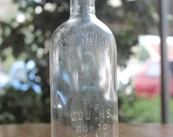 Vintage 1916 Creomulsion Medicine Glass Bottle