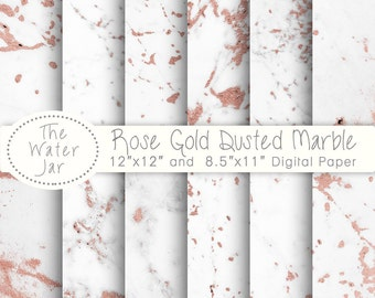 Rose Gold Marble Digital Paper, White Marble Dusted with Pink Rose Gold Foil Texture, wallpaper background, Digital Marble with Rose Gold
