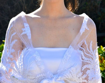 White bridal cape, Embroidered wedding bolero, party bolero, lace bolero
