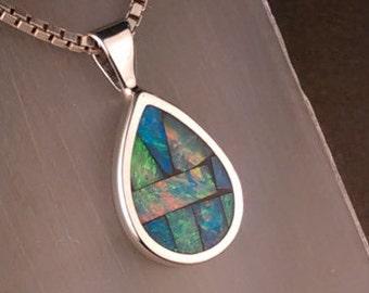 Australian Opal Mosaic Sterling Silver Necklace Pendant