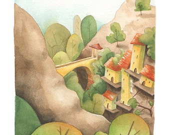 Between mountains and valleys / / Illustration of an imaginary country / / art giclee