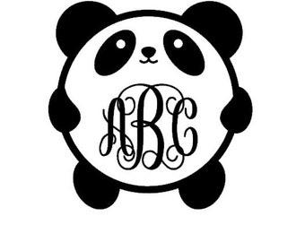 Panda Monogram, Panda Bear Decal, Animal Monogram, Kawaii Monogram, Car Decal, Laptop Decal, Windshield Decal, Macbook Monogram