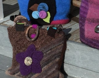 Wool Felted Brown Purse