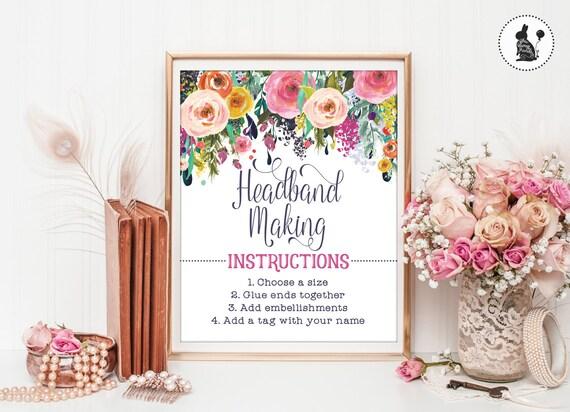 Headband Making Instructions Floral Headband Station Signs