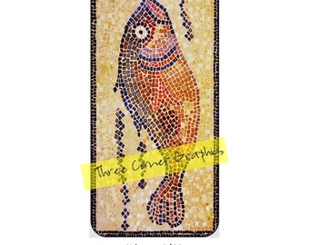 iPhone 6 printable case design (Roman fish mosaic); DIY print at home iPhone accessories for 6 or 6S