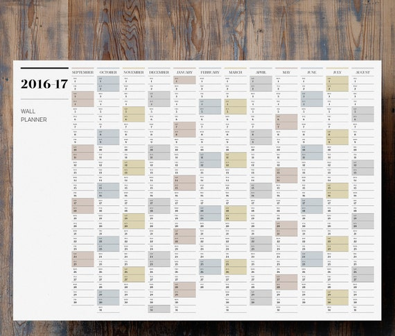 Mid Year Calendar : A mid year wall planner printable large  by