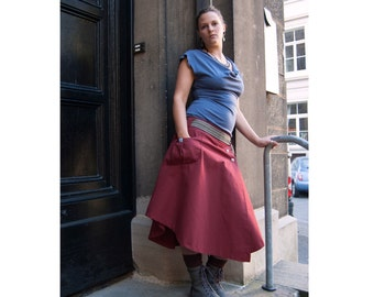 Red long skirt from bio canvas, very strong, durable, wrap skirt with metal buttons, asymmetrical, one pocket, flared skirt
