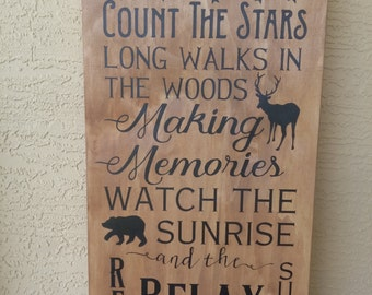 Cabin Rules sign cabin hand painted wood sign Typography Subway Wall Art Fathers Day Making Memories wooden sign rest relax renew No Vinyl