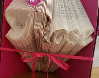 CUSTOM folded book art, upto 5 LETTERS/SYMBOLS only.