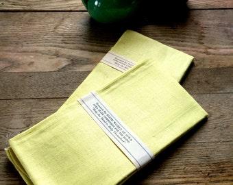 Vintage Linen Dish Towels; Sunshine Yellow