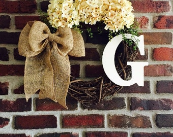 Christmas Wreath-Initial Wreath-Front Door Wreath-Summer Monogram Wreath-Everyday Wreath-Spring Wreath-Rustic Wreath-Monogrammed Wreath