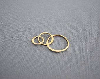 Satin 24k Gold Plated Sterling Silver Three Circle Link, Gold Vermeil 3 rings Connector, 3 Eternal Circles, Triple circles Link, GV411