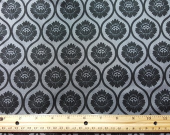 Black and Gray Lotus Fabric, by the yard or Fat Quarter, FQ, Flower print, art deco, flower fabric, lotus fabric, white lotus, black lotus