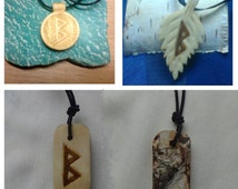 Wood runes jewelry Berkana birch runic amulet runes pendant runes necklace viking runes elder runes